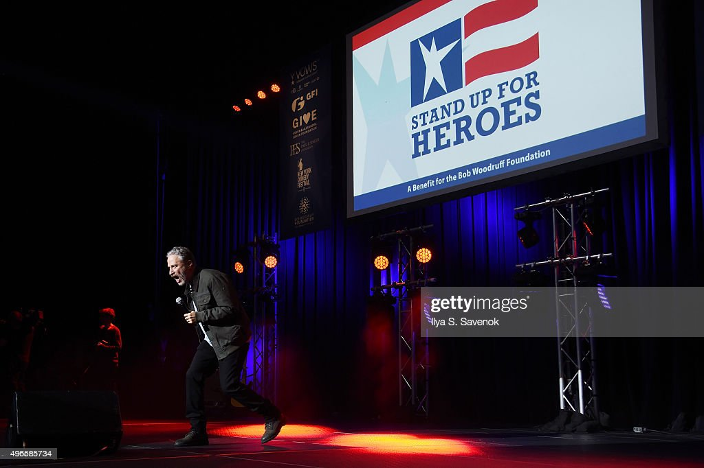 Comedian Jon Stewart speaks on stage at the New York Comedy Festival and the Bob Woodruff Foundation's 9th Annual Stand Up For Heroes Event on November 10, 2015 in New York City.