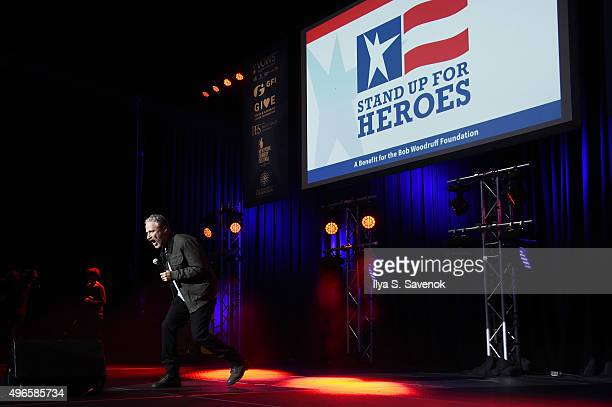Comedian Jon Stewart speaks on stage at the New York Comedy Festival and the Bob Woodruff Foundation's 9th Annual Stand Up For Heroes Event on...
