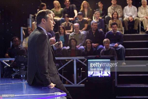 Comedian Jon Stewart talks to the audience during warmup for a taping of The Daily Show With Jon Stewart at the Daily Show studios April 6 2005 in...