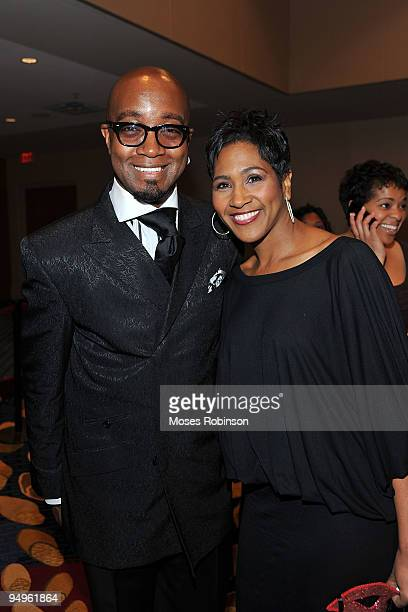 Comedian Jonathan Slocumb and Terri J Vaughn attend the 26th anniversary UNCF Mayor's Masked Ball at Atlanta Marriot Marquis on December 19 2009 in...