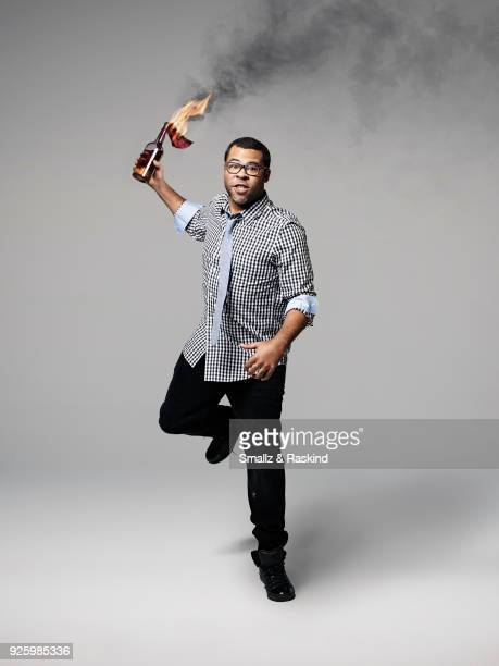 Comedian Jordan Peele one of the stars of the comedy show 'Key and Peele' are photographed for The Hollywood Reporter on July 19 2013 in Los Angeles...