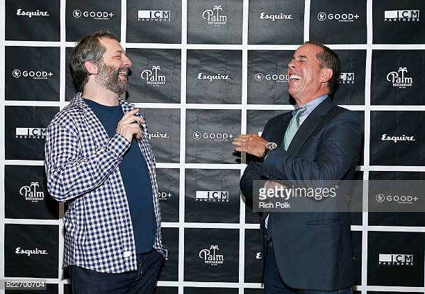 Comedian Judd Apatow and host Jerry Seinfeld attend the 2nd annual Los Angeles Fatherhood Lunch to benefit GOODFOUNDATION at The Palm Restaurant on...