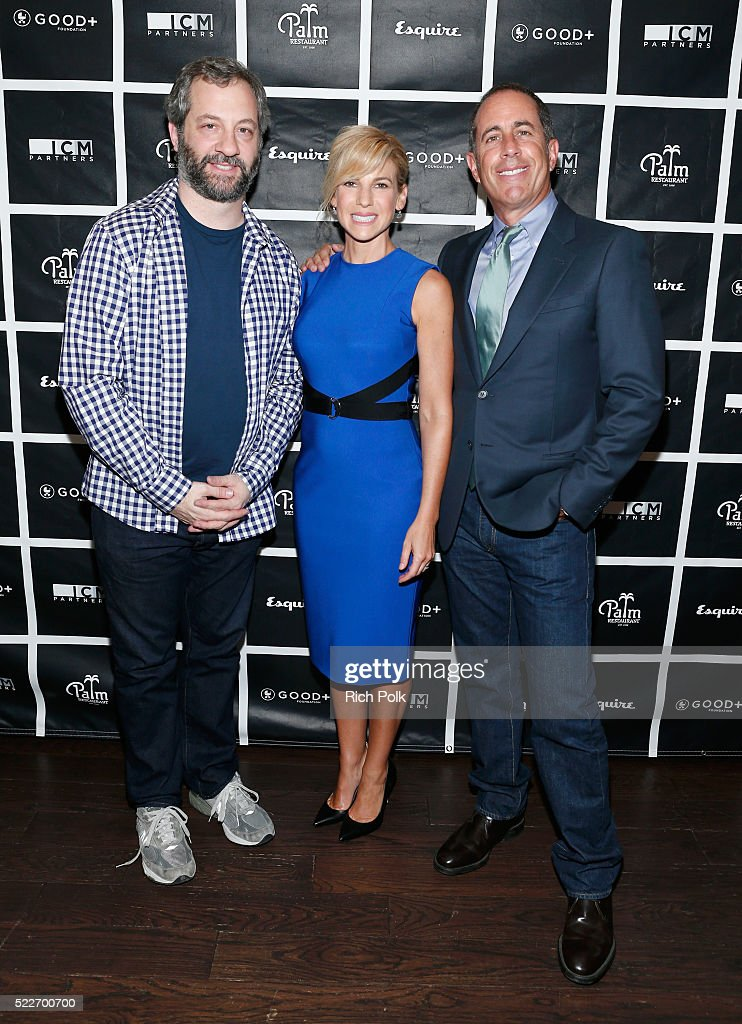 Comedian Judd Apatow, GOOD+ Foundation founder Jessica Seinfeld and host Jerry Seinfeld attend the 2nd annual Los Angeles Fatherhood Lunch to benefit GOOD+FOUNDATION at The Palm Restaurant on April 20, 2016 in Beverly Hills, California.