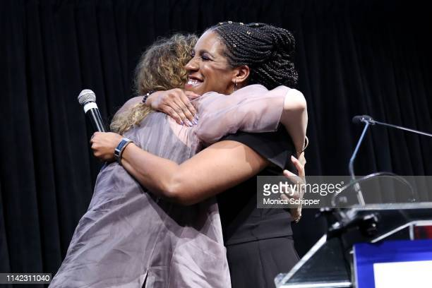 Comedian Judy Gold and President and CEO of the Ms Foundation For Women Teresa Younger speak onstage during the Ms Foundation For Women's Annual...