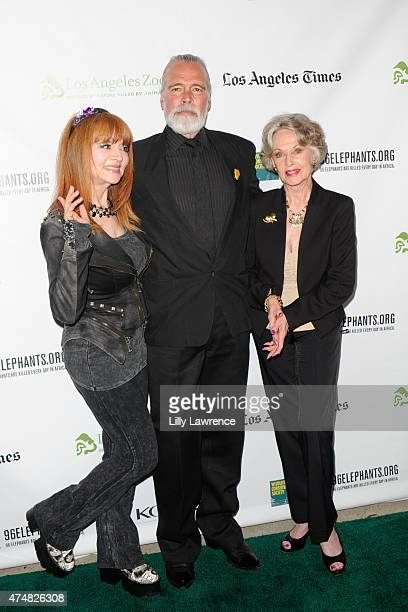 Comedian Judy Tenuta The Elephant Man Chris Gallucci and actress Tippi Hedren attend KCETLink presents The Green Carpet World Premiere and Panel...