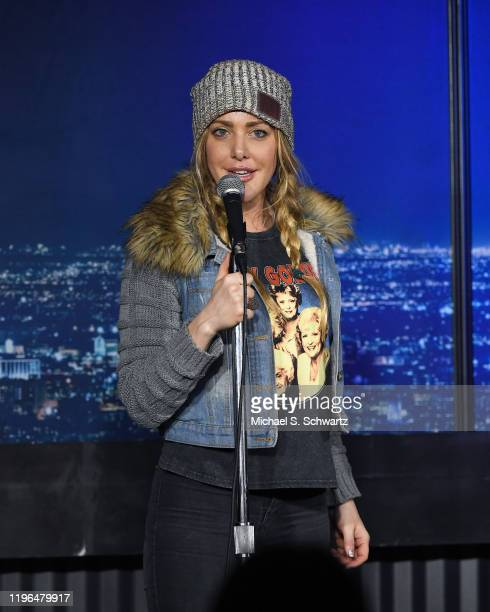 Comedian Kate Quigley performs during her appearance at The Ice House Comedy Club on December 28 2019 in Pasadena California