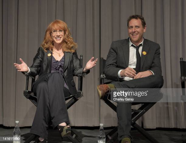 """Comedian Kathy Griffin and director Lee Hirsch speak on a panel following The Weinstein Company screening of """"Bully"""" at the Pacific Design Center..."""
