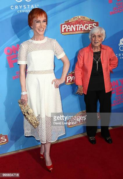 Comedian Kathy Griffin and mother Maggie Griffin attend a celebration of the Los Angeles engagement of On Your Feet the Emilio and Gloria Estefan...