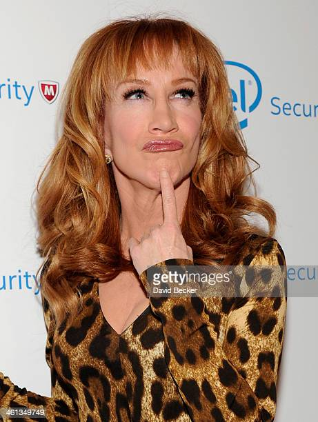 Comedian Kathy Griffin attends the McAfee's Digital Selves Event at Delmonico Steakhouse at The Venetian Las Vegas on January 7 2014 in Las Vegas...