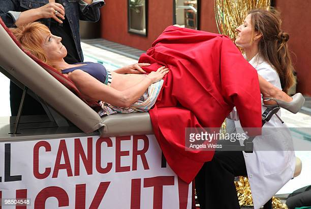 Comedian Kathy Griffin gets a pap smear on camera in order to promote women's health awareness at the Palomar Hotel on April 16 2010 in Westwood...