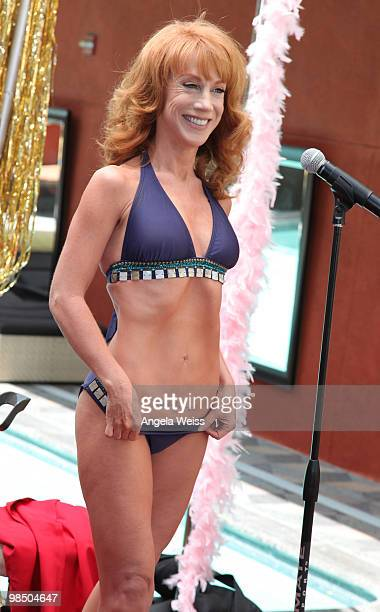 Comedian Kathy Griffin gets a public pap smear on camera in order to promote women's health awareness at the Palomar Hotel on April 16 2010 in...