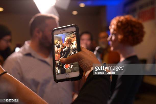 """Comedian Kathy Griffin on a fan's cell phone at the DTLA Film Festival premiere of """"Kathy Griffin: A Hell of a Story"""" at Regal LA Live Theater 11 on..."""