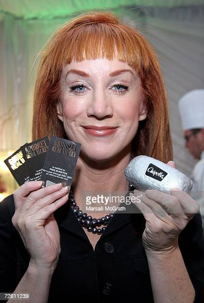 Comedian Kathy Griffin poses with the Chipotle display backstage at the American Music Awards with distinctive assets held at the Shrine Auditorium...