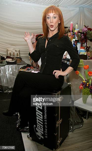 Comedian Kathy Griffin poses with the distinctive assets gift bag backstage at the American Music Awards with distinctive assets held at the Shrine...