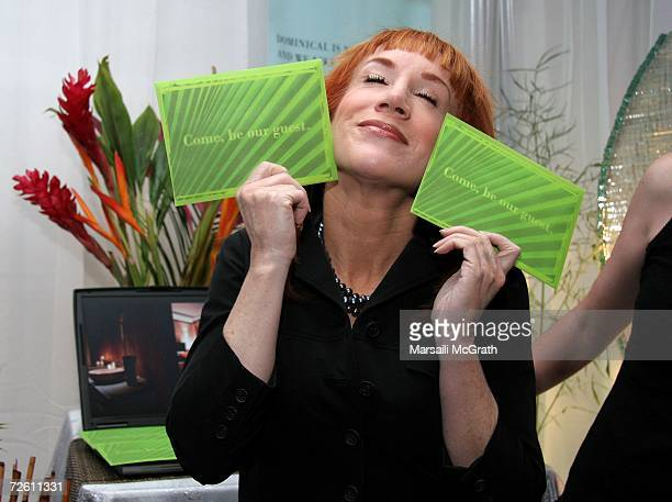 Comedian Kathy Griffin poses with the Dominical display backstage at the American Music Awards with distinctive assets held at the Shrine Auditorium...