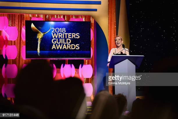 Comedian Kathy Griffin speaks onstage during the 2018 Writers Guild Awards LA Ceremony at The Beverly Hilton Hotel on February 11 2018 in Beverly...