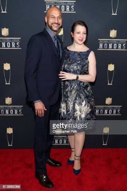 Comedian KeeganMichael Key and Elisa Pugliese attend the NFL Honors at University of Minnesota on February 3 2018 in Minneapolis Minnesota