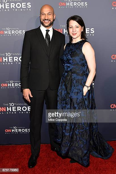 Comedian KeeganMichael Key and Elisa Pugliese attends CNN Heroes 2016 at the American Museum of Natural History on December 11 2016 in New York City...