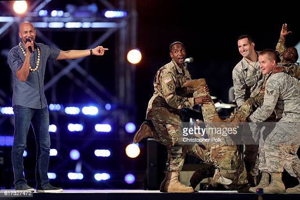 Comedian KeeganMichael Key performs with service men and woman onstage during Spike's Rock the Troops event held at Joint Base Pearl Harbor Hickam on...