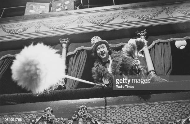 Comedian Ken Dodd performing on stage for the television variety show 'The Good Old Days', February 18th 1979.