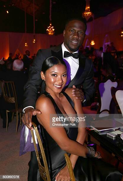 Comedian Kevin Hart and Eniko Parrish attend the 2nd Annual Diamond Ball hosted by Rihanna and The Clara Lionel Foundation at The Barker Hanger on...