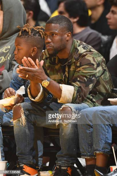 Comedian Kevin Hart attends a game between the Los Angeles Lakers and Philadelphia 76ers on January 21 2019 at STAPLES Center in Los Angeles...