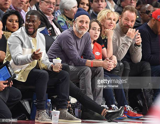 Comedian Kevin Hart Eniko Parrish Emmyaward winning television host and comedian Jon Stewart and son Nathan Trudie Styler and Sting attend the 2016...