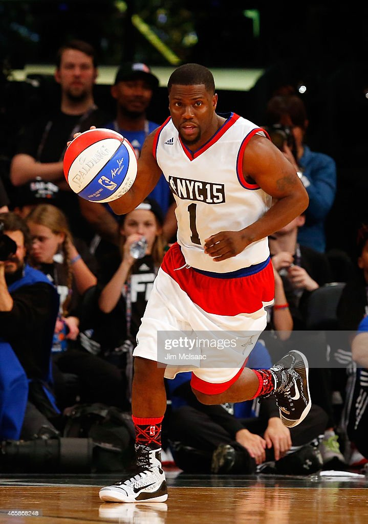 Comedian Kevin Hart in action during the Sprint NBA All-Star Celebrity Game at Madison Square Garden on February 13, 2015 in New York City.