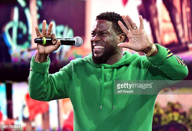Comedian Kevin Hart performs on the Colossal Stage during the 2017 Colossal Clusterfest at Civic Center Plaza and The Bill Graham Civic Auditorium on...
