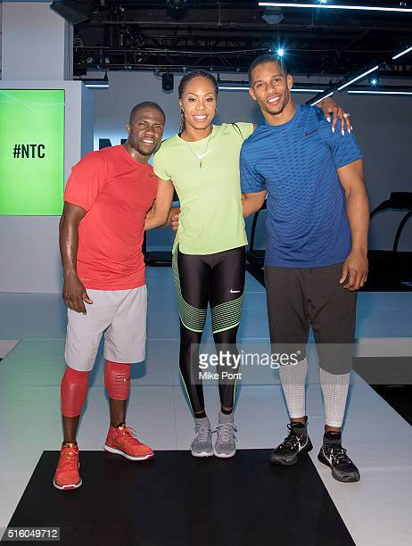 Comedian Kevin Hart, Sanya Richards-Ross, and Football player Victor Cruz attend the Nike+ Live Training and Running Experience at Skylight at...