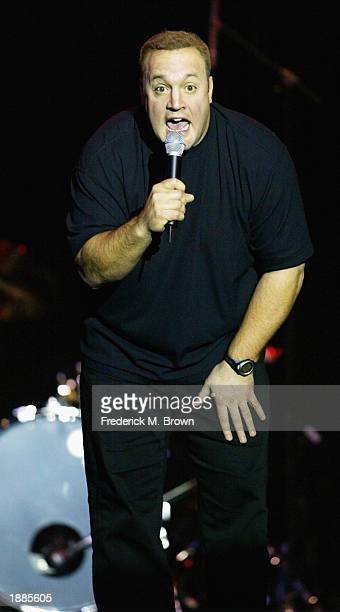 Comedian Kevin James performs during the Night of Comedy at the Henry Fonda Music Box Theatre on March 29 2003 in Hollywood California The event...