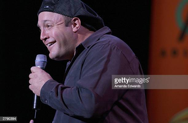 """Comedian Kevin James performs onstage at the """"Rx Laughter"""" fundraiser on December 6, 2003 at UCLA's Royce Hall, in Westwood, California."""