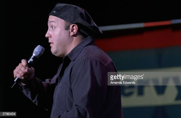 Comedian Kevin James performs onstage at the Rx Laughter fundraiser on December 6 2003 at UCLA's Royce Hall in Westwood California
