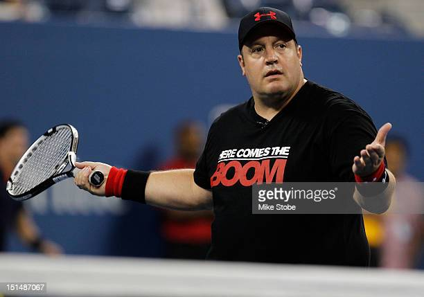 Comedian Kevin James reacts during a celebrity doubles match on Day Eleven of the 2012 US Open at the USTA Billie Jean King National Tennis Center on...