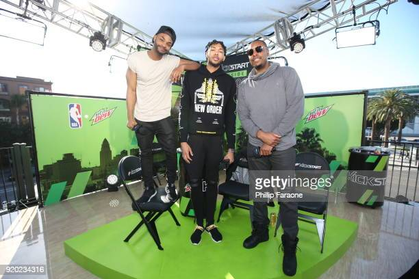 Comedian King Bach Mtn Dew Kickstart Rising Star Brandon Ingram and NBA Legend Paul Pierce take the stage at Mtn Dew Kickstart Courtside Studios at...