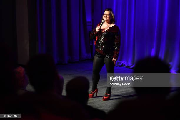 Comedian Kiri Pritchard-McLean performs during a comedy test event at ACC Liverpool on April 28, 2021 in Liverpool, England. This is a one-off pilot...