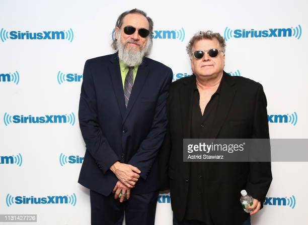 Comedian Larry Charles and SiriusXM host Ron Bennington visit the SiriusXM Studios on February 22 2019 in New York City