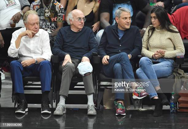 Comedian Larry David and talent agent Ari Emanuel coCEO of William Morris Endeavor attends the basketball game between Los Angeles Clippers and...