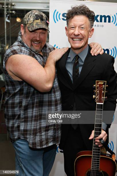 Comedian Larry the Cable Guy meets singer Lyle Lovett at SiriusXM Studio on February 29 2012 in New York City