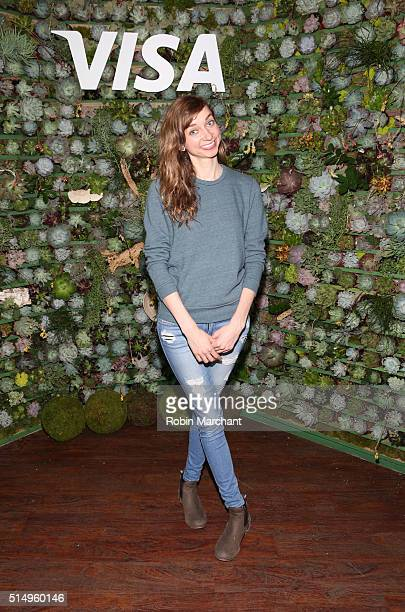 Comedian Lauren Lapkus on stage after her performance where she announced Visa's firstever API Developer Challenge at the Visa Everywhere Lounge on...