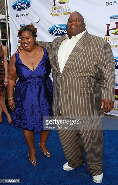 Comedian Lavell Crawford and mother Annita Crawford walk the blue carpet at the 10th Annual Ford Hoodie Awards at MGM Garden Arena on August 4 2012...