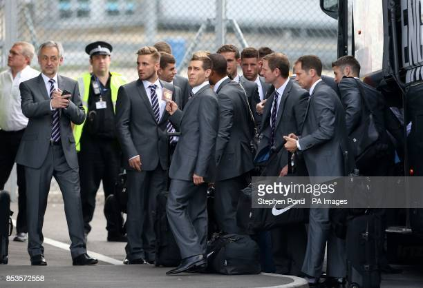 Comedian Lee Nelson is seen with England football team at Luton Airport, Luton.