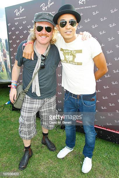 Comedian Leigh Francis and singer Jade Jones are seen in the Ray Ban area during day two of the Isle of Wight Festival 2010 at Seaclose Park on June...