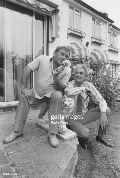 Comedian Les Dawson and broadcaster Clay Jones pictured outside Dawson's home in Lytham Lancashire July 9th 1984