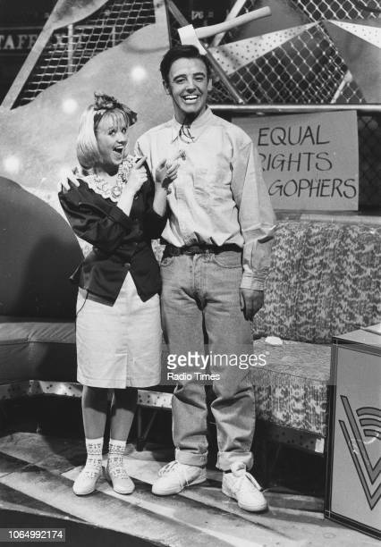 Comedian Les Dennis and actress Lisa Maxwell in a sketch from the comedy television series 'The Les Dennis Laughter Show' April 8th 1989