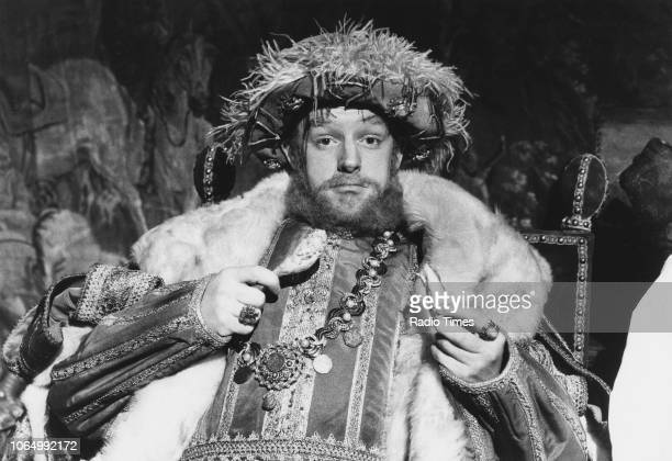 Comedian Les Dennis dressed as King Henry VIII in a sketch from the comedy television series 'The Les Dennis Laughter Show' March 6th 1988
