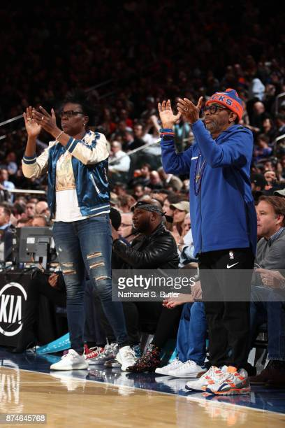 Comedian Leslie Jones and Director Spike Lee attend the Cleveland Cavaliers game against the New York Knicks on November 13 2017 at Madison Square...