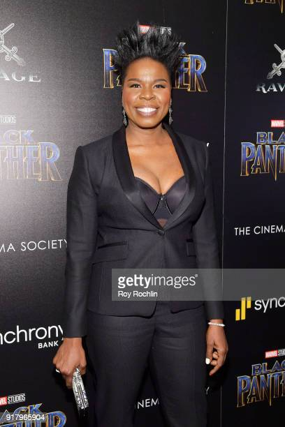 """Comedian Leslie Jones attends the screening of Marvel Studios' """"Black Panther"""" hosted by The Cinema Society on February 13, 2018 in New York City."""