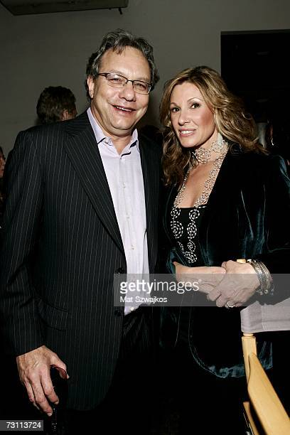 "Comedian Lewis Black and Maria Cuomo Cole pose backstage at Kenneth Cole's ""R.S.V.P. To HELP"" benefit hosted by Kenneth Cole and Jon Bon Jovi at the..."