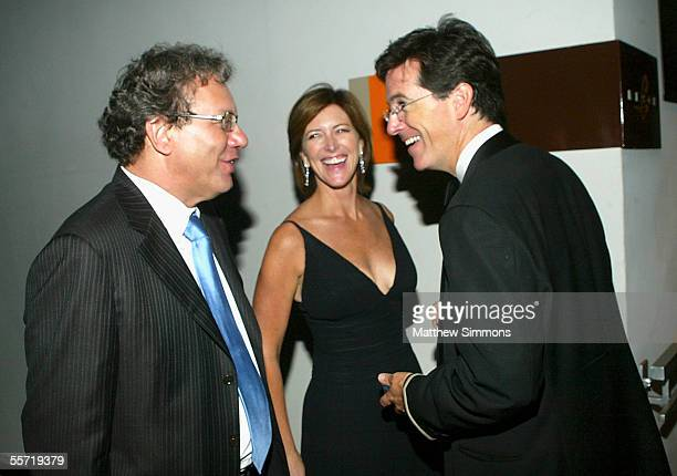 Comedian Lewis Black Evie Colbert and Stephen Colbert arrive to Comedy Central's Emmy after party at Meson on September 18 2005 in Hollywood...